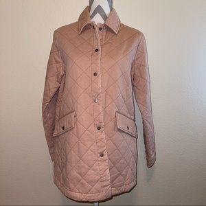Light Pink Diamond Quilted Cotton Joie NWT Utility Zipper Jacket Medium